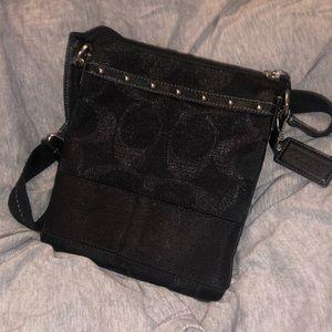 Coach black canvas messenger crossbody bag